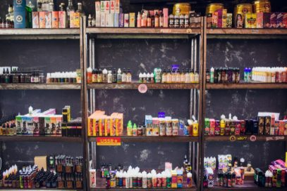 Vape and smoke shop shelves lined with merchandise