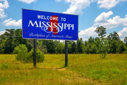 Mississippi welcome sign