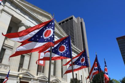 Ohio state flags. Lawmakers are currently considering a Kratom ban.