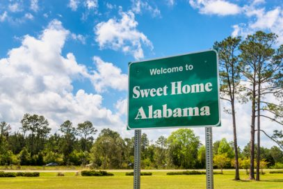 Sweet Home Alabama Welcome Road sign means you are entering a place of Kratom legality in Alabama that's not to be trifled with
